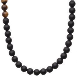 Iced Out Wooden Beads Fashion Stretch Necklace - 8mm TIGER EYE black - 80 cm / čierna
