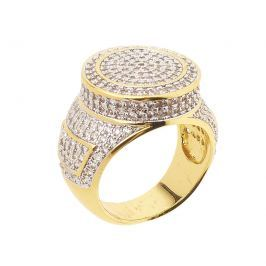 Iced Out Bling Micro Pave Ring - ROUND TOP gold - 10